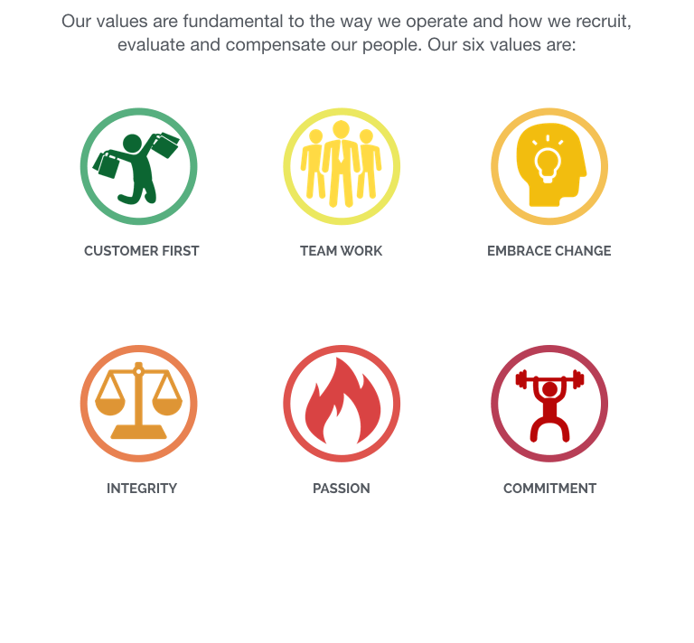 At DOT made, our values are fundamental to the way we operate and how we recruit,evaluate and compensate our people. Our six values are:Putting the customer first, team work, embrace change, integrity, passion and commitment.