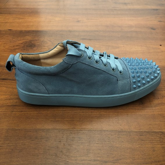 2f674ad29db Christian Louboutin Louis Junior Spikes cyan Flat Suede Sneakers
